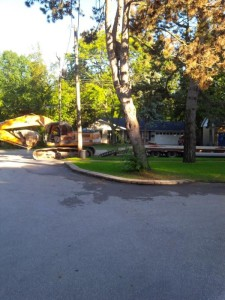 Since the laneway is so small the trailers had to park across the street